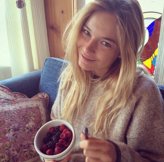 Bridget Malcolm showing her blackberries