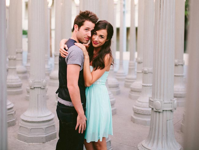 Colleen Ballinger and Joshua David Evans during their engagement in Los Angeles in January 2015