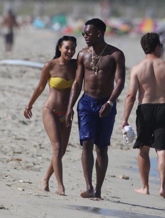 Daniel Sturridge walking on the beach with Jourdan Dunn