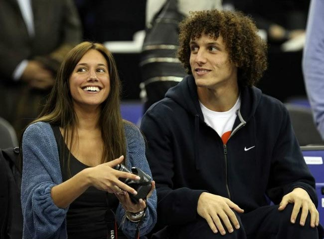 David Luiz watches basketball match at the O2 arena with girlfriend Sara Madeira in 2011