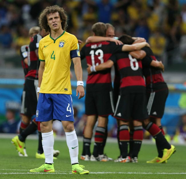 David Luiz's bemused expression Germany scores another goal 2014 World cup semifinal