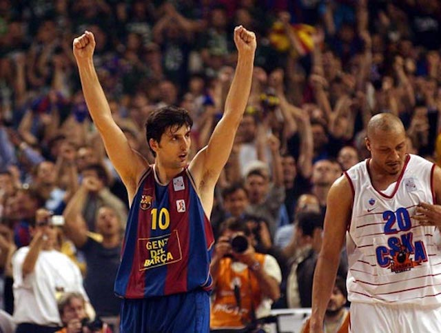 Dejan Bodiroga celebrates a win for his team Barcelona in a match against CSKA Moscow