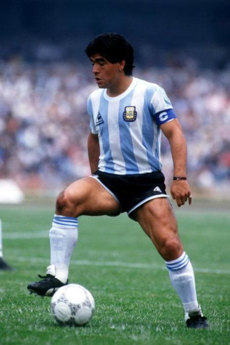 Diego Maradona controls the ball during a friendly match for Argentina in 1989