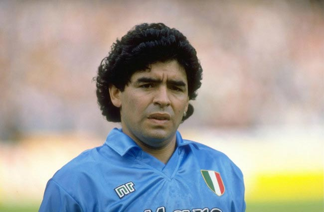 Diego Maradona before the start of Serie A home match between Napoli and Juventus in 1990