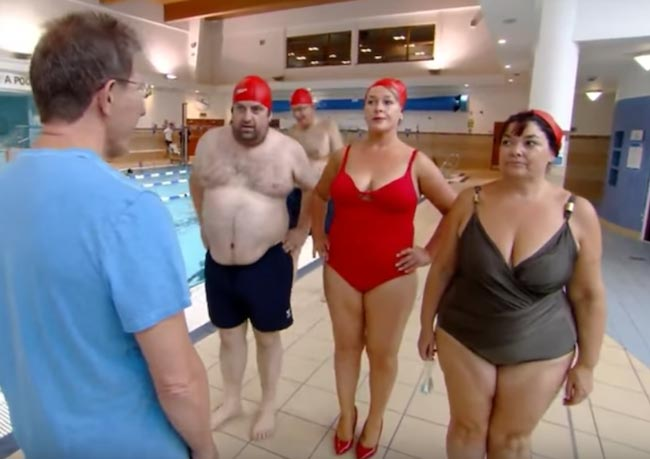 Elaine Crowley taking part in swimming challenge on Celebrity Operation Transformation
