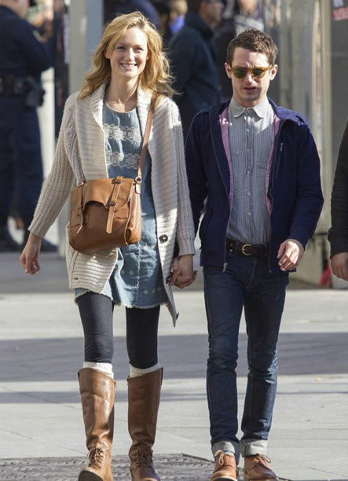 Elijah Wood and Kerry Bishe enjoying a leisurely stroll in Madrid in November 2012