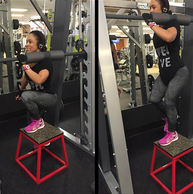 Eve Guzman working out her legs