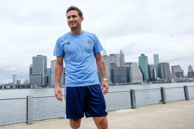 Frank Lampard poses for cameras at his unveiling at MLS club New York City FC