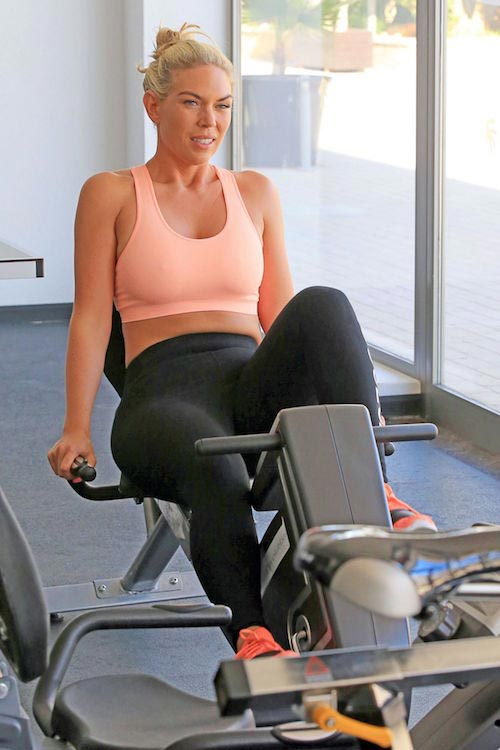 Frankie Essex working at a gym in Ibiza on July 4, 2016