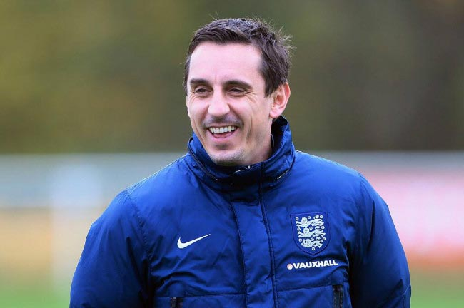 Gary Neville takes England national team's training session in capacity of assistant coach in 2015