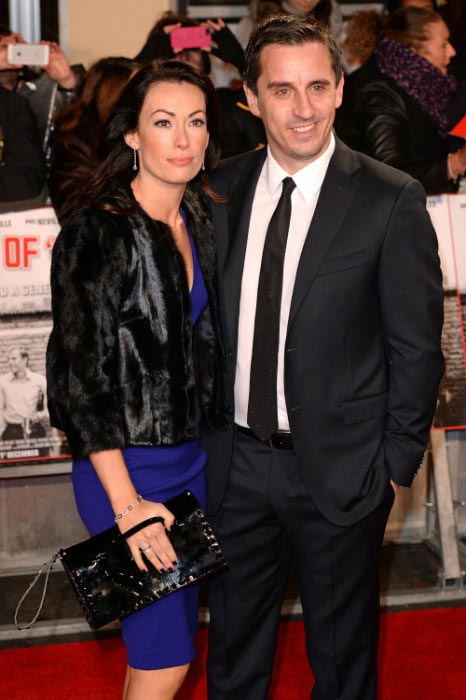 Gary Neville with wife Emma at the Class of '92 Premiere in December 2013