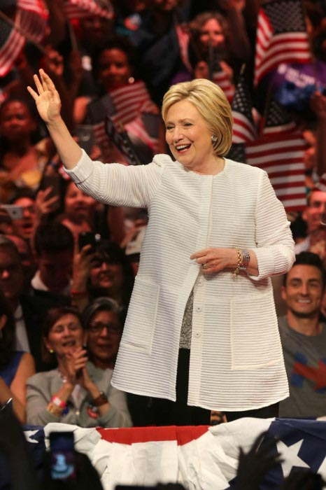 Hillary Clinton center stage presidential primary election night rally June 2016 in New York