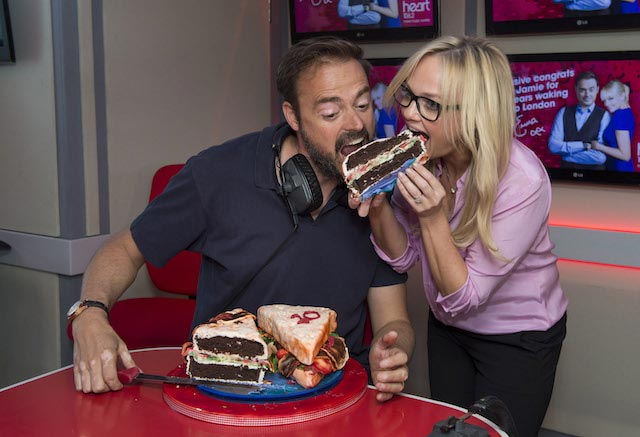 Jamie Theakston and Emma enjoying food