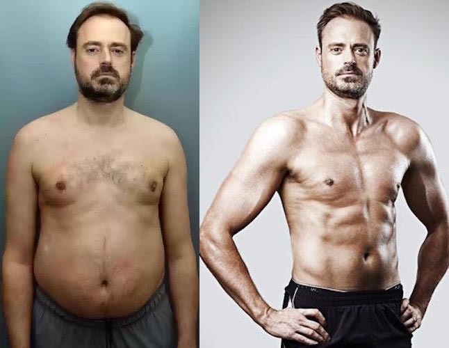 Jamie Theakston before and after