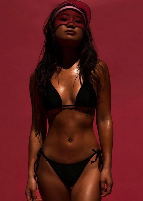 Jeannie Mai sexy bikini black bikini Coy March 2016