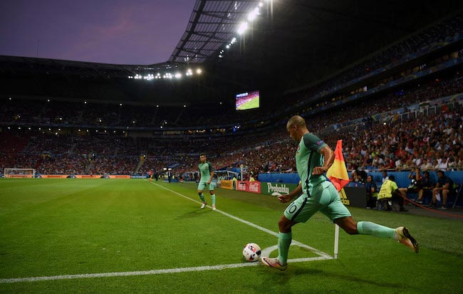 Joao Mario corner kick for Portugal during a match against Wales on July 6, 2016