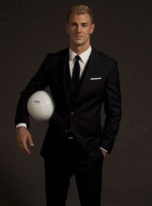 Joe Hart poses for the cameras for the Hugo Boss fragrance campaign