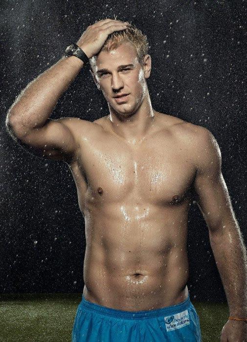 Joe Hart shirtless body lean physique Head & Shoulders advertisement photoshoot