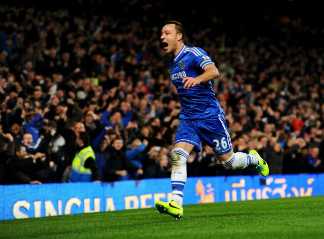 John Terry celebrating after scoring a goal