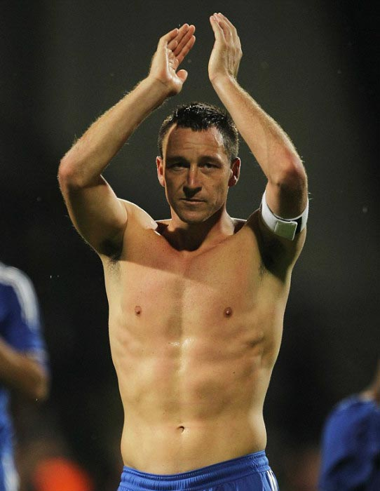 John Terry shirtless acknowledges Chelsea fans away European match against Zilina 2010