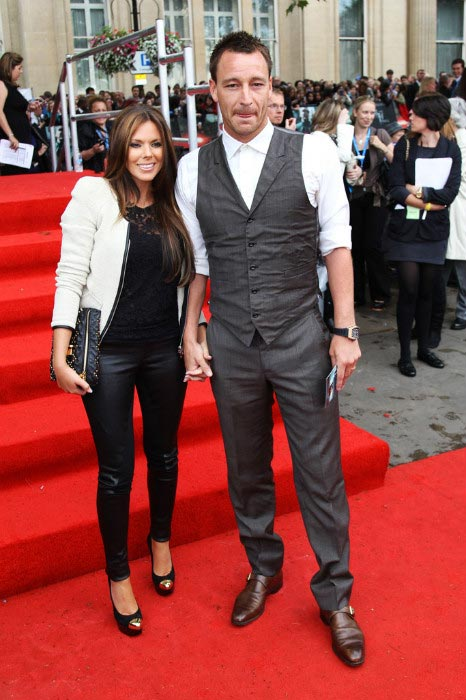 John Terry with his wife Toni Poole at the world premiere of Harry Potter and the Deathly Hallows Part 2 on July 7, 2011