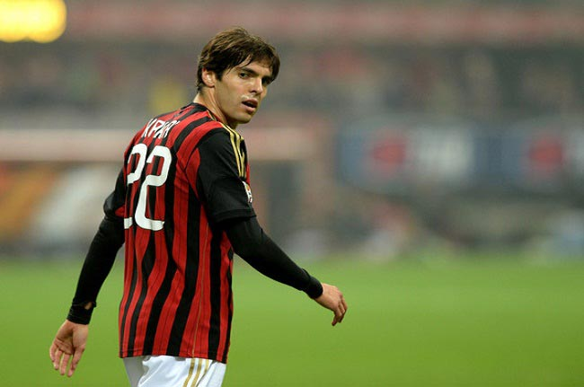 Kaká pictured during a home Serie A match for AC Milan against Udinese Calcio at Giuseppe Meazza Stadium in October 2013