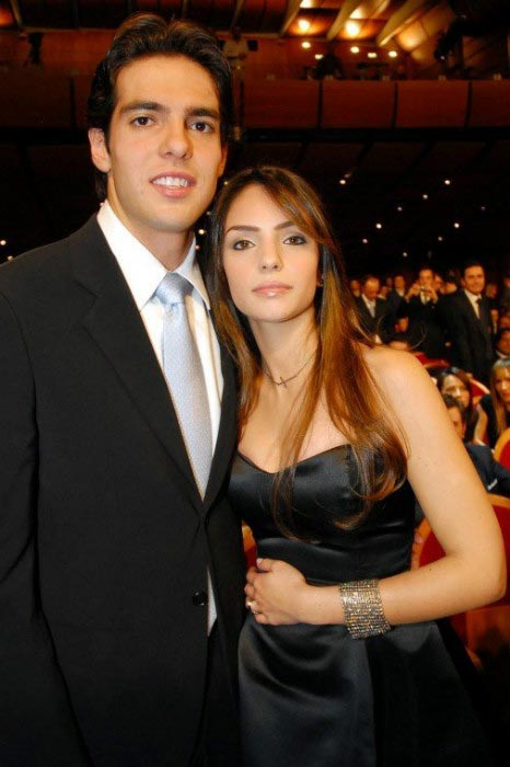Kaká with his beautiful ex-wife Caroline Celico Leite at a public event in Milan in 2013