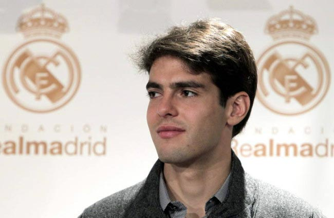 Kaká poses for the cameras at his official unveiling after signing up with Spanish giants Real Madrid in June 2009