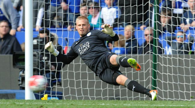 Kasper Schmeichel watches penalty sneak in against West Ham United in a premier league fixture in April 2016