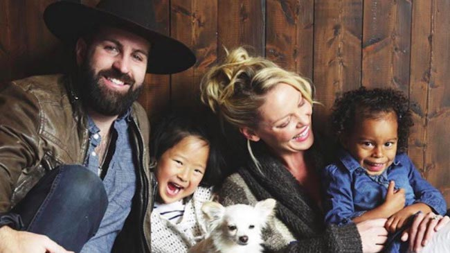 Katherine Heigl with her present family