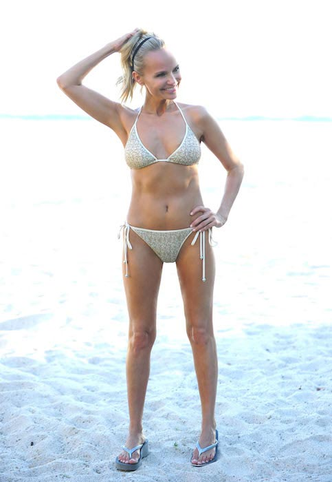 Kristin Chenoweth in a metallic two-piece bikini in Mexico in April 2013