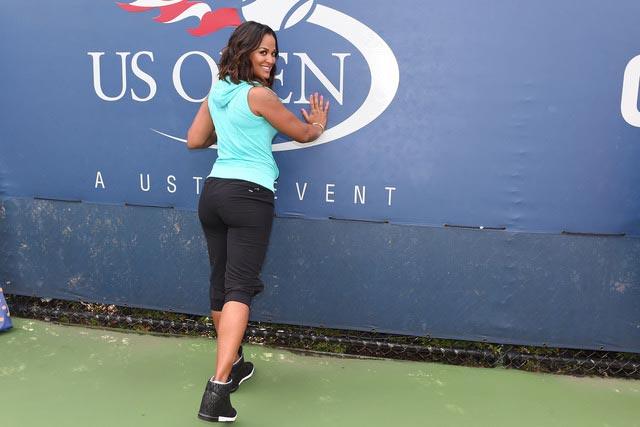 Laila Ali demonstrating butt exercises