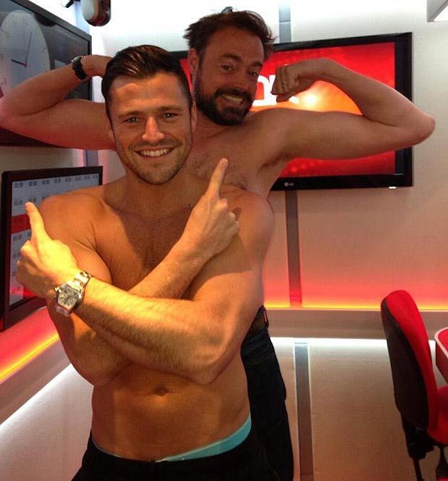 Mark Wright and Jamie Theakston pose for topless Twitter snap