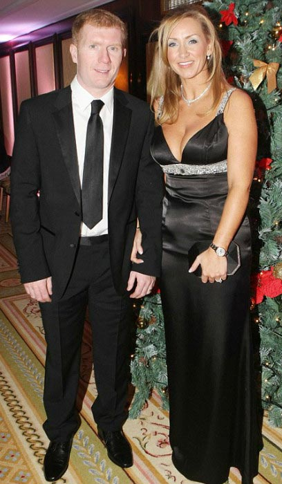 Paul Scholes and his wife Claire Froggatt at the Keith Duffy's masquerade ball in December 2011
