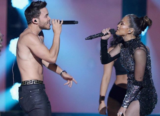 Prince Royce performing with Jennifer Lopez