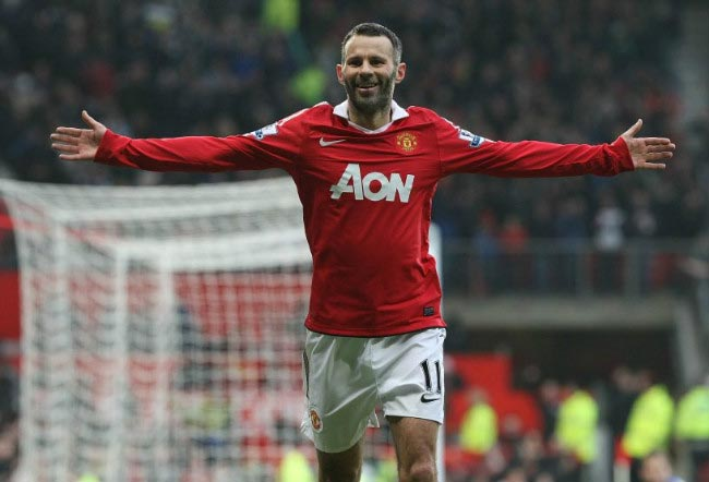 Ryan Giggs celebrates after scoring a goal in home match at Old Trafford in Premier League in 2010