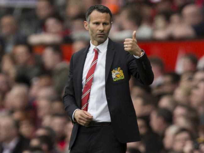 Ryan Giggs on the sidelines at the Old Trafford stadium during his short spell as interim manager in 2014