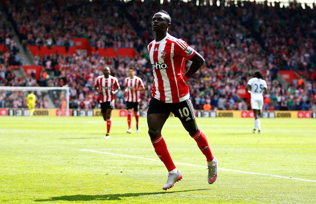 Sadio Mane celebration scored a goal Southampton Crystal Palace May 15, 2016