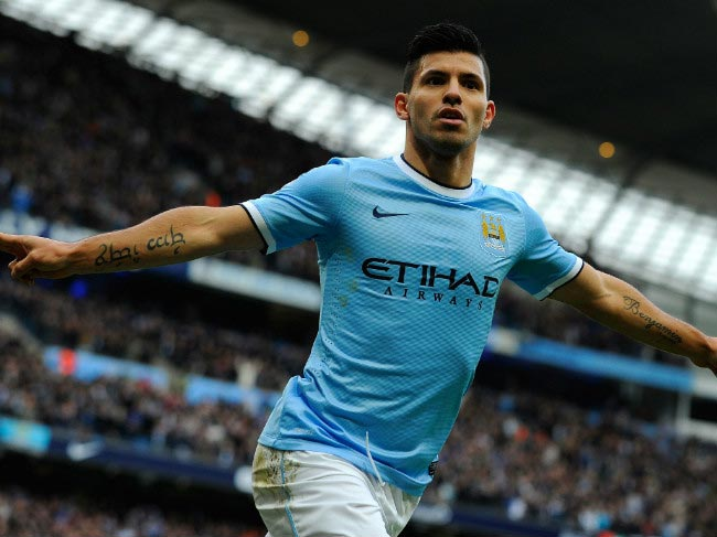 Sergio Agüero peels off after scoring a goal at Manchester City home game