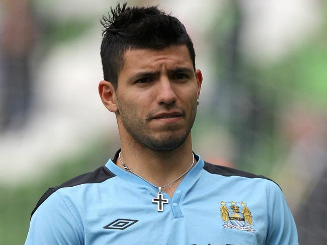 Sergio Agüero pictured while undergoing drills at the Manchester City training facility
