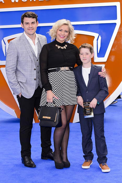 "Suzanne Shaw with fiance Sam Greenfield and her son at the premiere of ""Tomorrowland: A World Beyond"" in London on May 17, 2015"