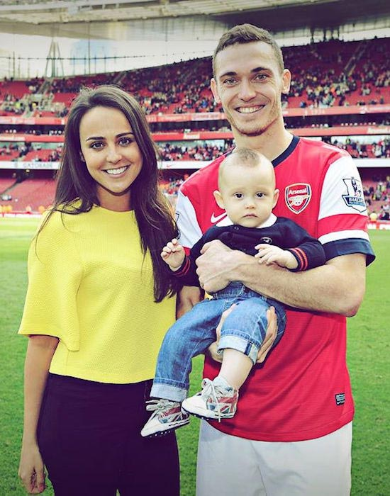 Thomas Vermaelen and Polly Parsons with their son Raff