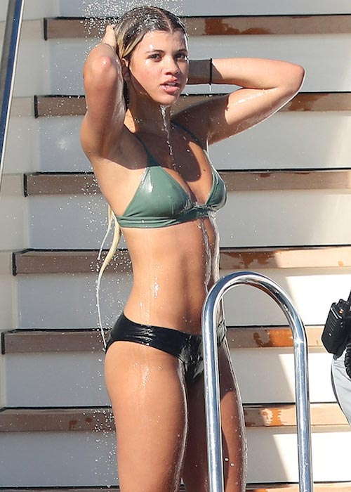 Sofia Richie in bikini in July 2016 on a model filled yacht in St Tropez