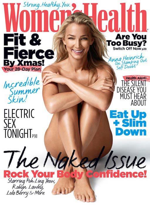 Anna Heinrich posing naked for Women's Health magazine