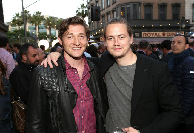 Christoph Sanders (right) with fellow actor Lucas Neff at Twentieth Century Fox Television Distribution's event in May 2013