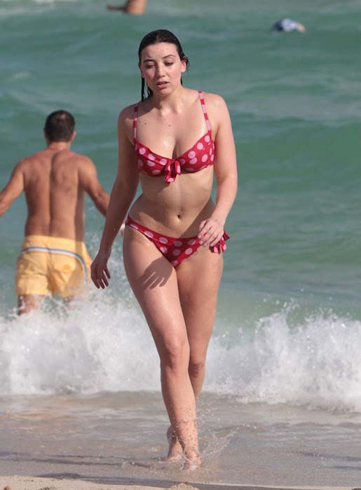 Daisy Lowe in bikini on Miami Beach on December 30, 2015