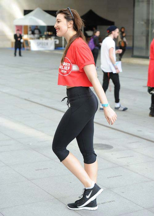 Daisy Lowe in tights for a support cause