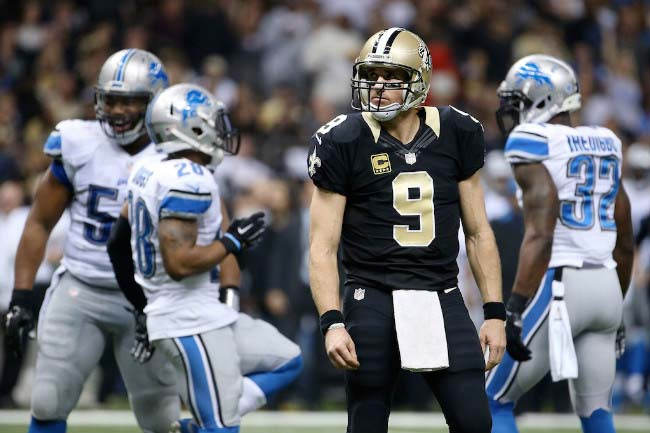 Drew Brees during a NFL match against Detroit Lions in December 2015