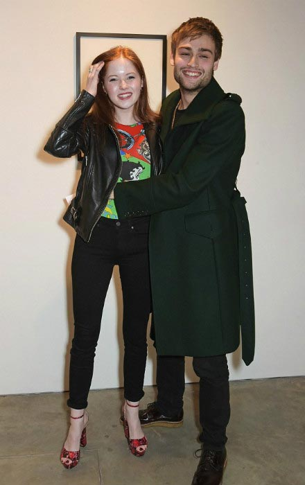 Ellie Bamber with Douglas Booth at Modern Art Exhibition in Central London in April 2015