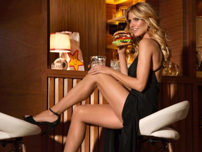 Heidi Klum being featured in a new Carl's Jr commercial